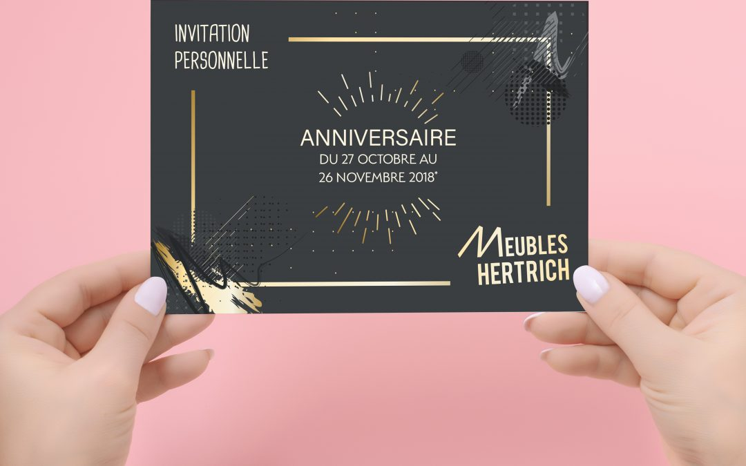Invitation et encart DNA – Meubles Hertrich – EPFIG